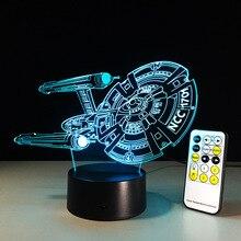 Star Trek рисунок 3D ночь светодиодные лампы космический корабль красочные USB LED акрил Освещение Star Trek фигурку