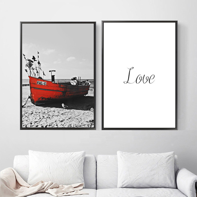 Beach Red Boat Love Quotes Canvas Art Print Painting Posters And Fascinating Love Quotes On Canvas