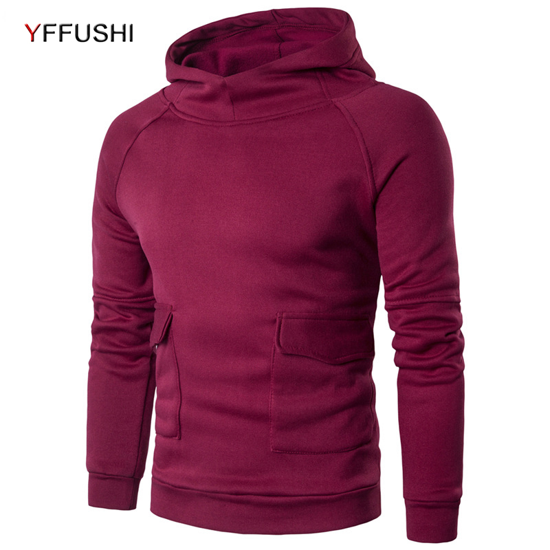 YFFUSHI 2018 Fashion Hip Hop Men Hoodies Brand Casual Men Hooded Pullovers Solid Color Hoodies Sweatshirt Jaskets Male Clothing