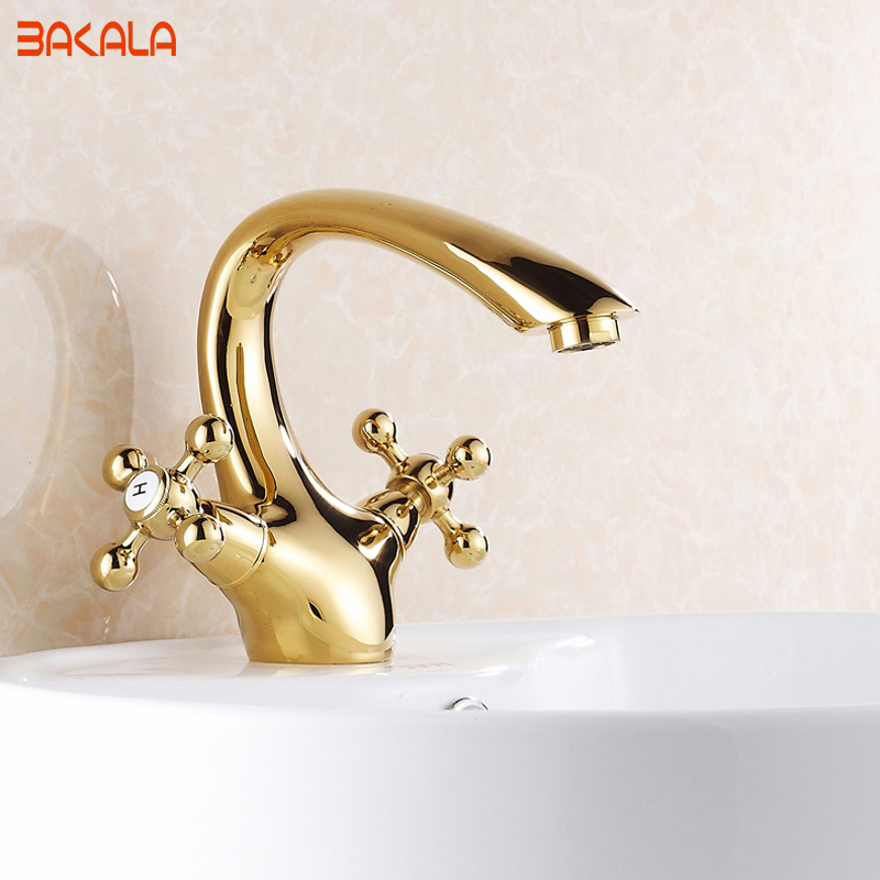 Фото Gold Bathroom Faucet Contemporary Concise Bathroom Faucet Golden Polished Brass Basin Sink Faucet Dual Handle bath mixer GZ7302K