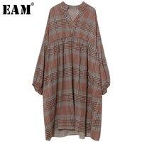 [EAM] 2018 mới mùa xuân đứng cổ áo dài tay áo cà phê màu palid lỏng kích thước lớn không thường xuyên ăn mặc phụ nữ triều thời trang JE23404