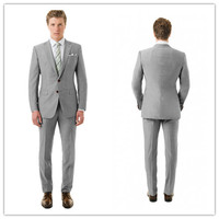 2015 New Arriving Summer Style 100 Wool Classic Light Grey 2pcs Two Button With Notch Lapel