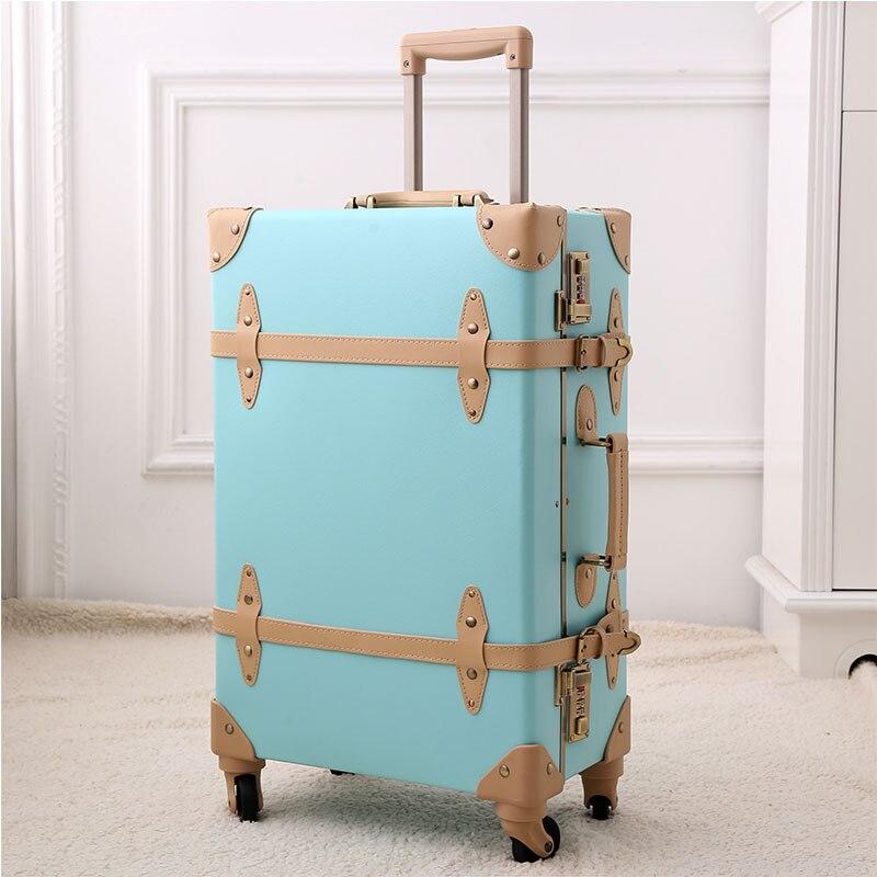 2018 retro travel luggage hardside luggage suitcase on wheels suitcase 24 fashion spinner Unisex 7 colors high quality genuine