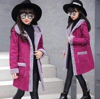 Girls Coat New 2017 Fashion Thickening Outerwear Coats Girls Jacket Brand Solid Kids Jacket Hooded Girls