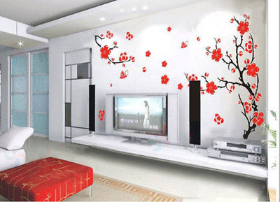Luxury Plum Flower Wall Sticker Removable Red Blossom Decor Chinese Style Decals Vinyl Art Mural