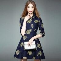 Gold Elephant Print Denim Dress Ball Gown Dress Spring Autumn Mini Dress Jeans Women 3 Quarter