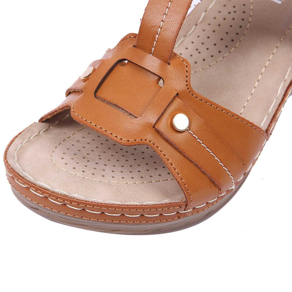 Takozlar Sandalet Kadın Ayakkabı Platformu Hafif Rahat Topuklu Dikiş T-kayışı Rahat Yumuşak Astarı Toka Ayakkabı Toka Askısı