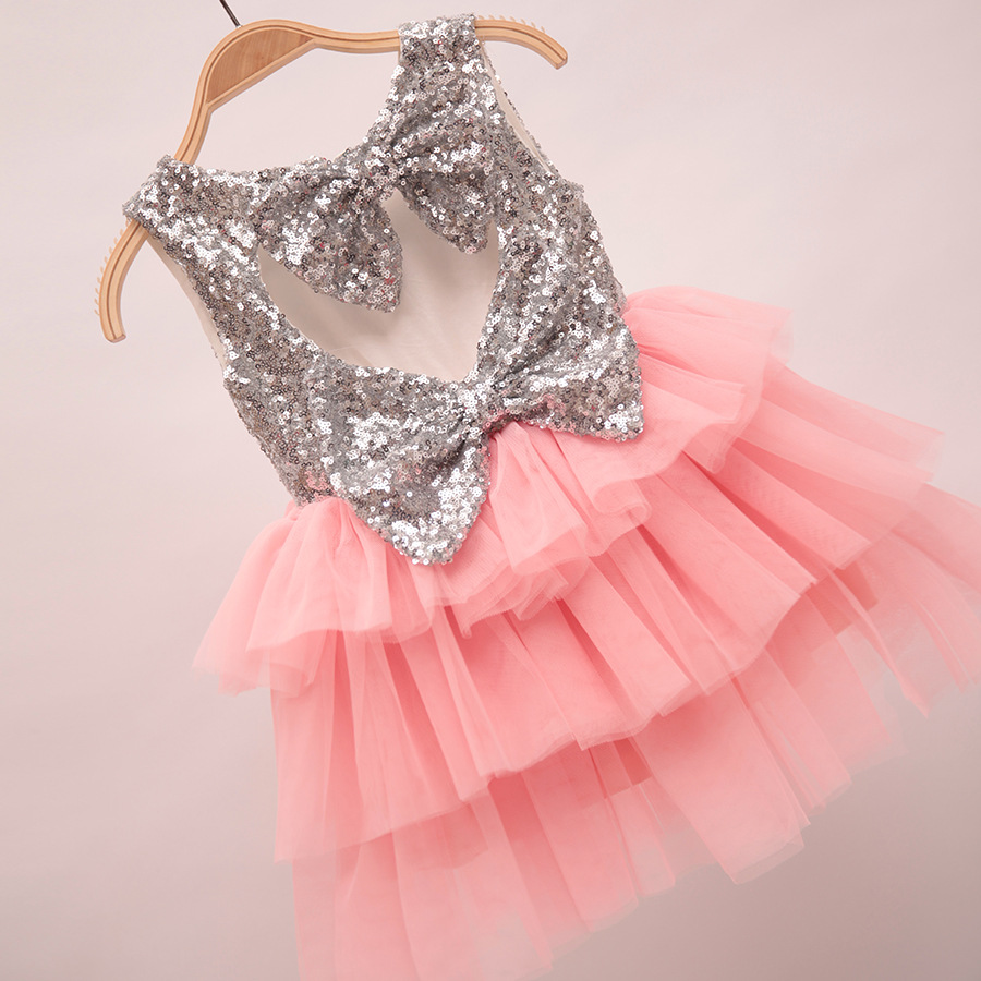 Baby girl pink sequin dress - 2016 New Design Baby Girl Boutique Clothing Silver Sequined Patchwork Layered Dress For Girls Back Heart Sharp Wholesale