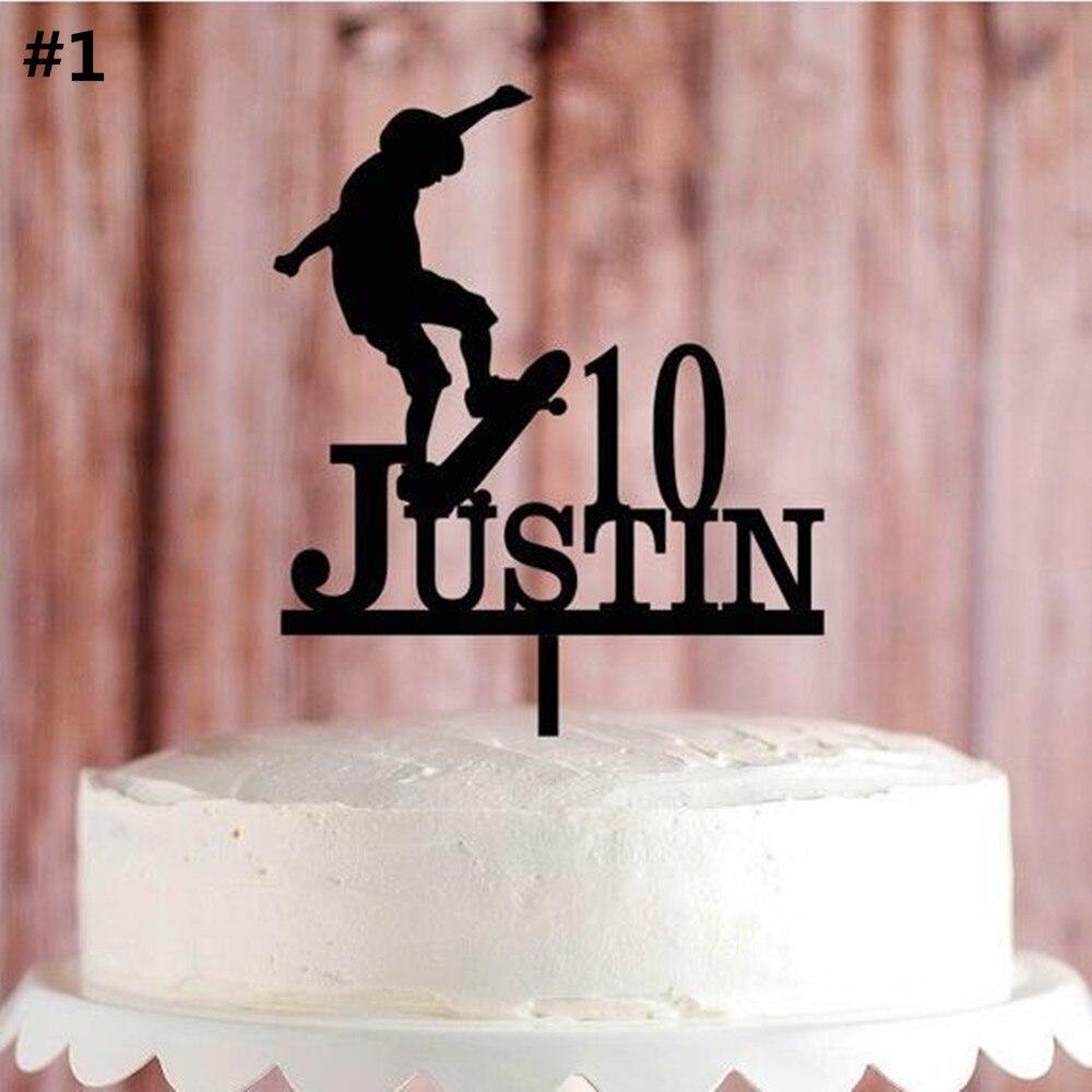 Personalized Sport Theme Birthday Cake Topper Custom Skateboard