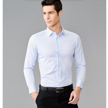 Prime quality customized males's shirt lapel single-breasted pure white the groom costume shirt basic type long-sleeved shirts