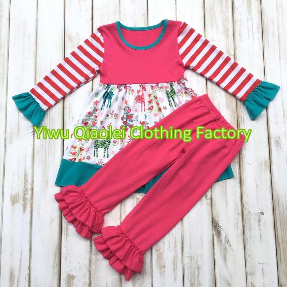 fe18adf6ed75 Cute girls christmas day outfits wholesale children stripe ruffle ...