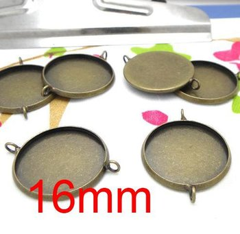 Free shipping!!! Lead Free 400pcs/lot Inside size 16mm bronze color round Cameo Base Sett with double ring