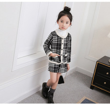 Free shipping Korean style spring/autumn long-sleeved plaid Cardigan outerwear+pants fashion two pieces suit set for girls