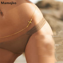 Mamojko Sexy Summer Beach Bikini Gold Silver Cross Waist Chain For Women Fashion Body Chain Swimwear Accessories Jewelry(China)