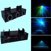 Three Heads Laser Light 300mW RGB Full Color Laser projector For Laser Show Party Dance