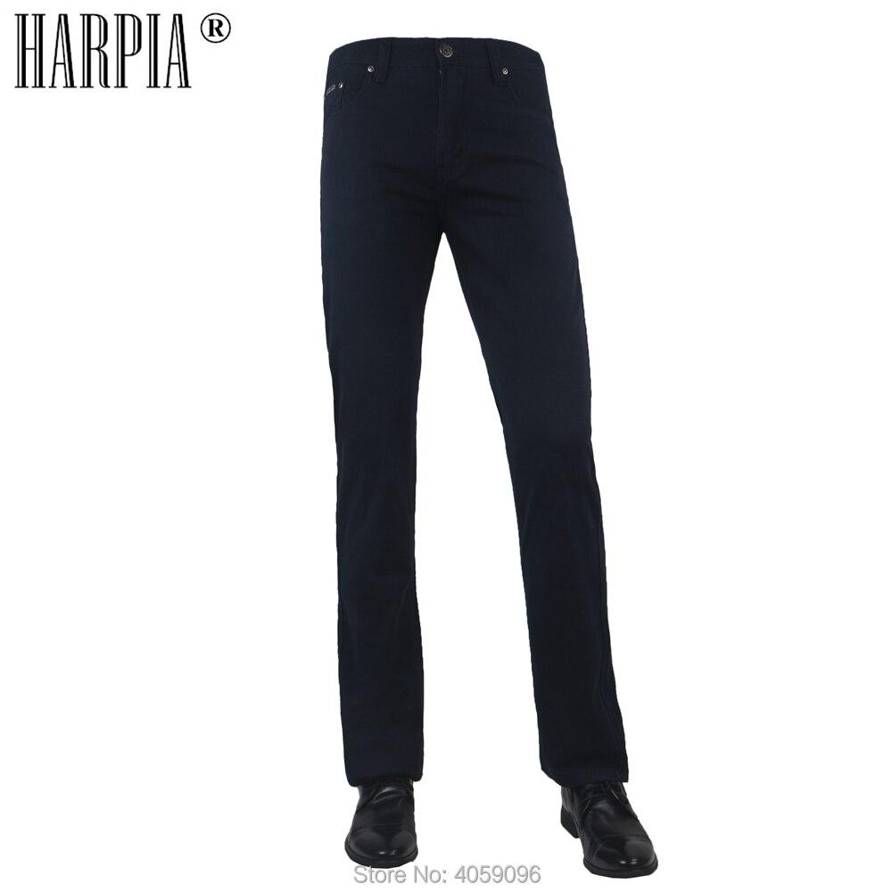 HARPIA Men Casual Pants Summer Mens Cotton Slim Straight Full Pants Plus Size 31-44 Regular Elastic Mid-waist Business Trousers