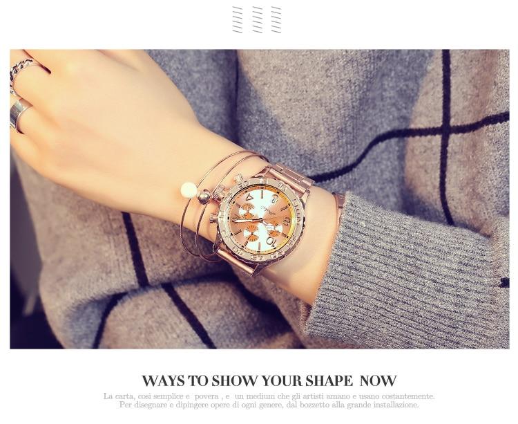 feminina seis-pin grande dial relógios de pulso