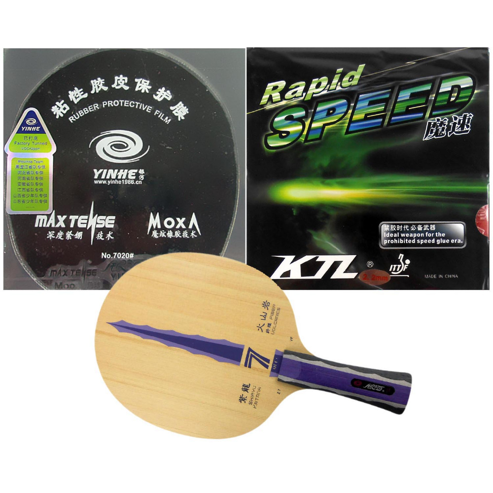Pro Table Tennis PingPong Combo Racket: Galaxy YINHE Z7 VF with Moon Factory Tuned and KTL Rapid Speed Long Shakehand FL galaxy yinhe t8s blade ktl rapid speed and blackpower rubber with sponge for a table tennis racket long shakehand fl