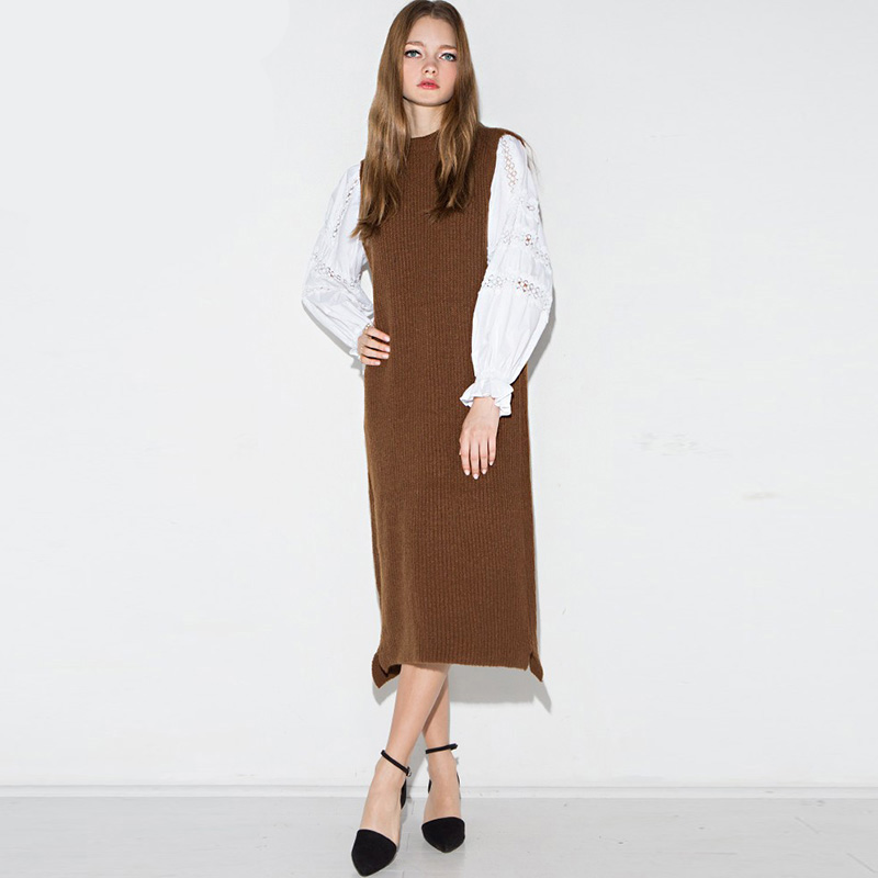 Brown <font><b>sleeveless</b></font> chunky <font><b>rib</b></font> <font><b>dresses</b></font> for women spring fall fashion maxi <font><b>dresses</b></font> ladies <font><b>long</b></font> casual pullover shift <font><b>knitted</b></font> <font><b>dresses</b></font>