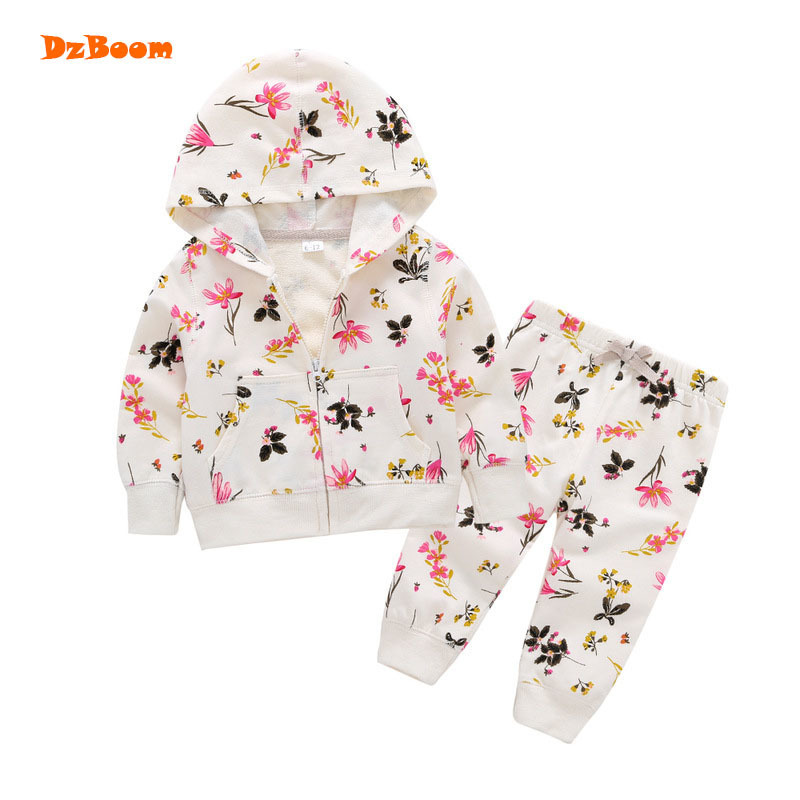 DzBoom 2017 Baby Girls Autumn Floral Printed Clothing Set New Arrivals Cotton Long Sleeve Kawaii Pantsuit Children Clothes cotton baby rompers set newborn clothes baby clothing boys girls cartoon jumpsuits long sleeve overalls coveralls autumn winter