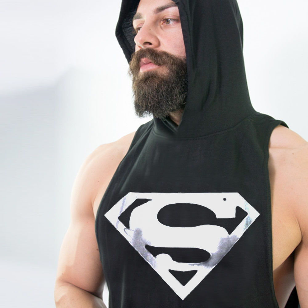 DLIXZI Superman Print Sleeveless Sweatshirts Gyms Tank Top Hoodie Summer Mens Fitness We ...