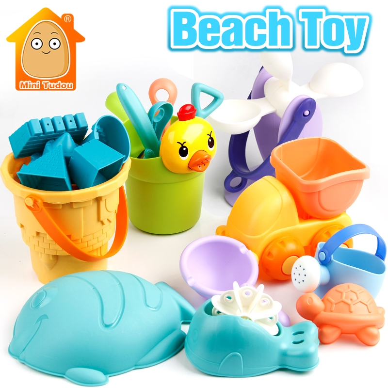 Outdoor Kids Beach Toys Plastic Soft Play Set 15PCS-19PCS Bucket Rakes Sand Wheel Tool Model Bath Toy Game For Children