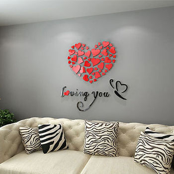 Modern DIY Acrylic Wall Stickers 3D Mirror Love Heart Home Decor Quote Flower Crystal Wall Stickers Decal Home Art Decor 1
