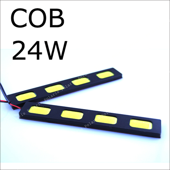 1pair COB Led day running light Car truck 12v 24w White day time running DRL Lamp Auto Rear reverse backup Waterproof  daytime bosch c5w 12v 5w day time 1987301060