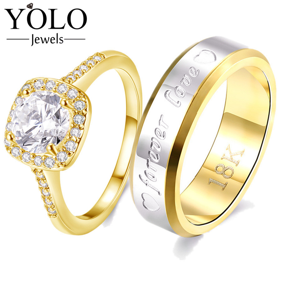 YOLO Jewels Gold Color Couple Rings Copper Ring Stainless