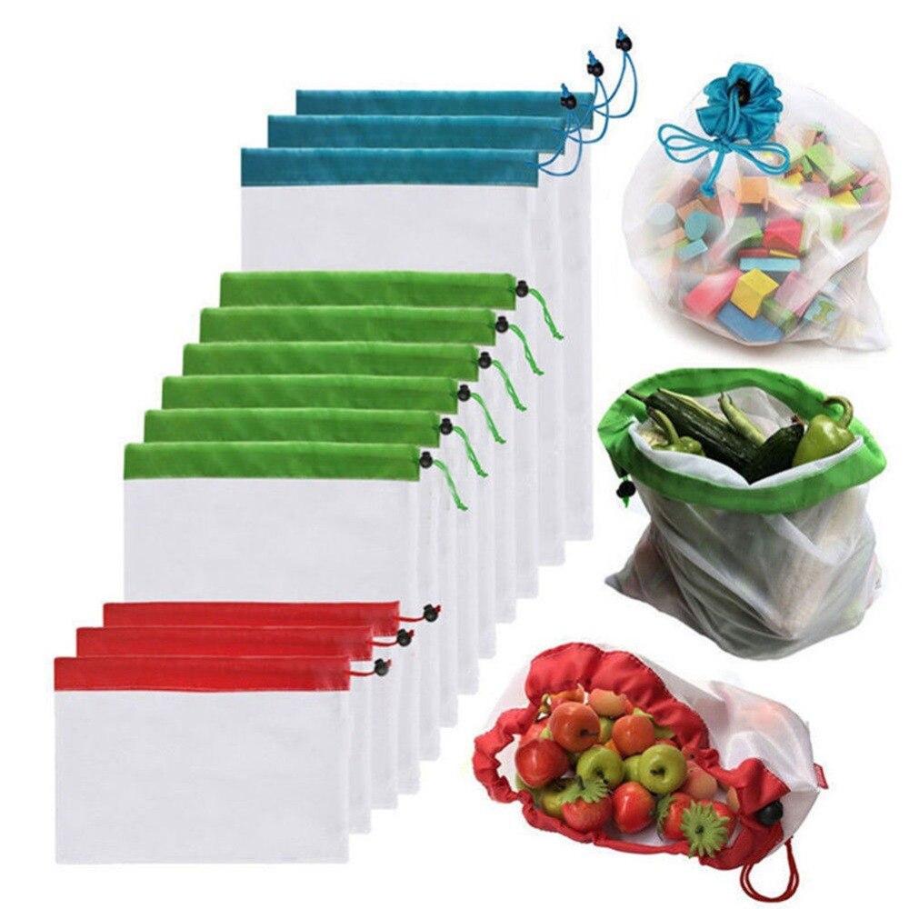 12 pcs Produzir Sacos de Malha Lavável Reutilizável Eco Friendly Sacos de Compras de Supermercado de Armazenamento de Frutas Legumes Brinquedos Diversos