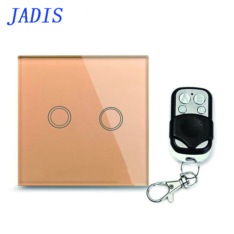 Standard EU / UK JADIS Remote Control Switch  2    gang 1 Way, Wall Touch Switch, Gold Glass Glass + Blue LED Indicator smart home eu touch switch wireless remote control wall touch switch 3 gang 1 way white crystal glass panel waterproof power