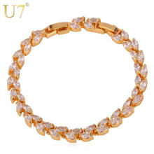 U7 French Romantic Zirconia Leaf Bracelet For Women Trendy Gold/Silver Color Jewelry Shiny Colorful Tennis Bracelet H441(China)