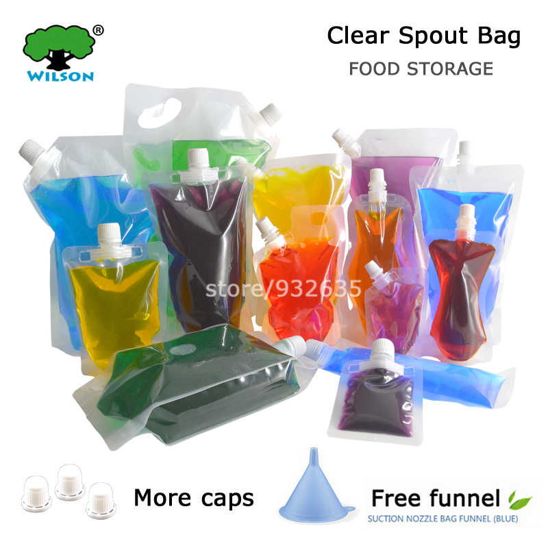 20 PCS Clear Spout Bag PET/ PE Bag Liquid Pack Out door Folding Water,Beverage,Squeeze pouch Spout Pouch Free Shipping
