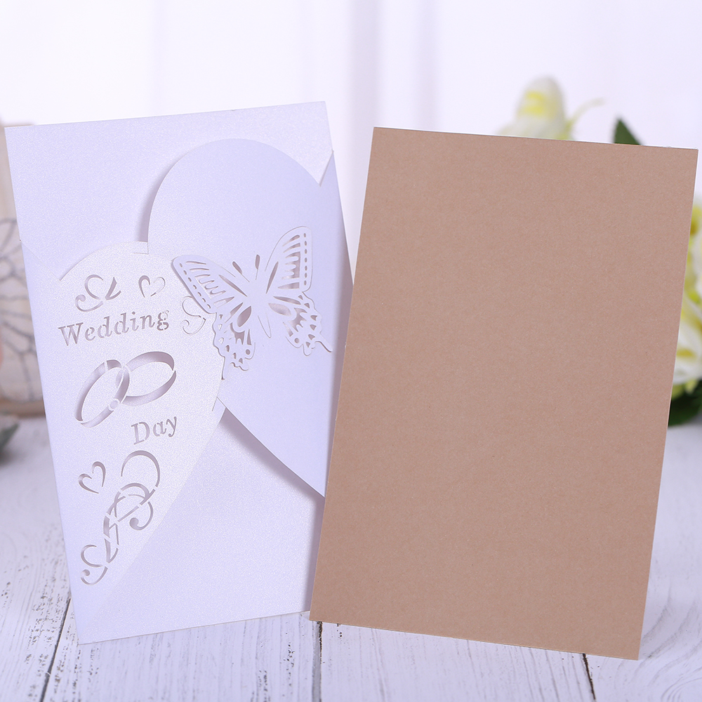 100 pieces Luxury Laser Cut MR MRS Wedding Invitations Cards Vintage ...