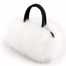 Faux Rabbit Fur Handbags Women PU Leather Classic Size Winter Luxury Solid for Ladies Tote Shoulder