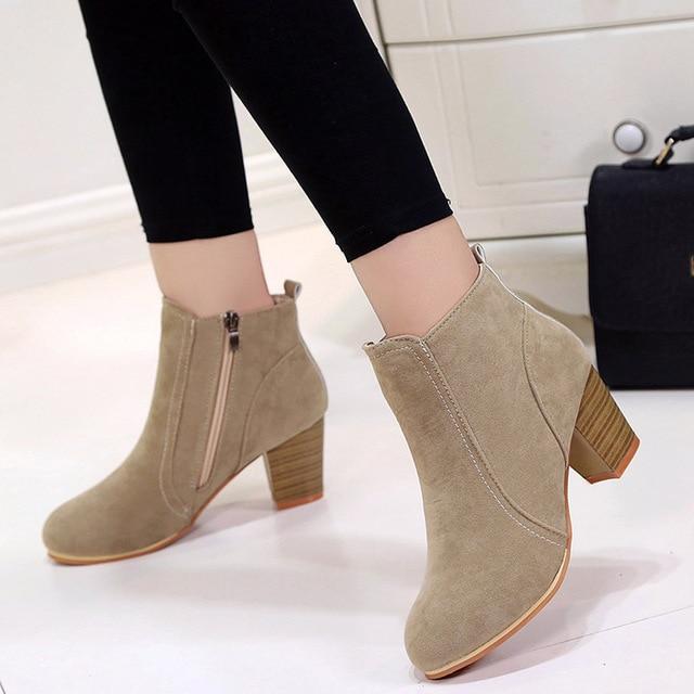 GOXPACER jesień zima nowe buty damskie buty na wysokim obcasie kobiet Martin buty klamra moda okrągłe Toe stado zachodniej kostki brytyjski styl