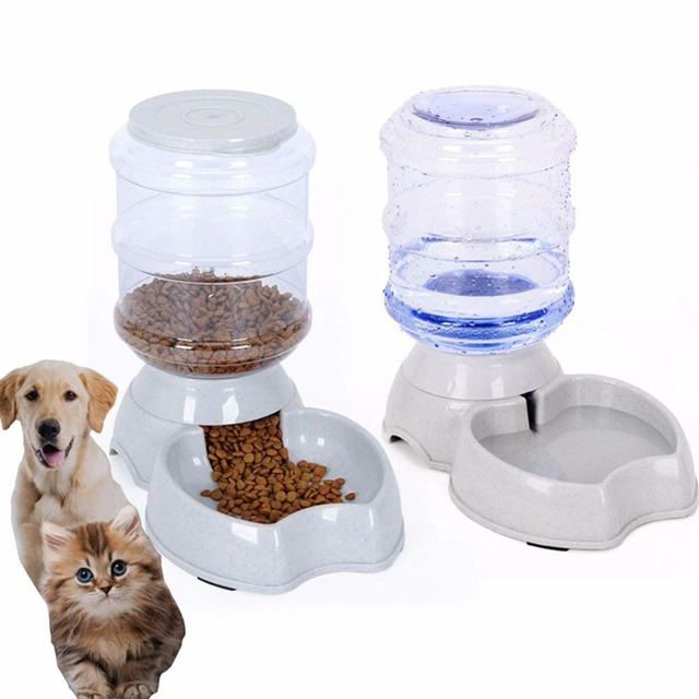 Pet's Automatic Feeder And Drinking Fountain With Storage