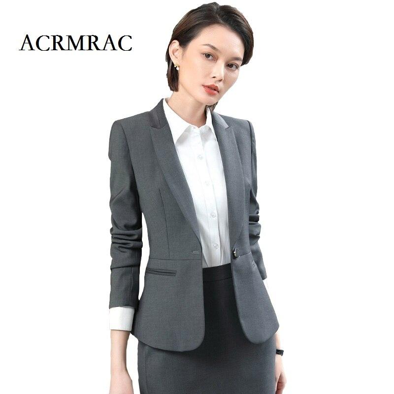 Nouvelle Skirt Jacket D'affaires Couleur Acrmrac Bouton Mince Longues Pants gray black Solide Manches Costumes Costume Seul Veste Gray Robe Ol Femmes Formelle Drees 5xqqYRwT