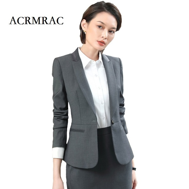 Acrmrac Women New Long Sleeve Suit Solid Color Slim Single Button