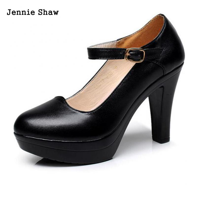 high heel thick heel shoes pumps shallow mouth platform genuine leather women s work shoes