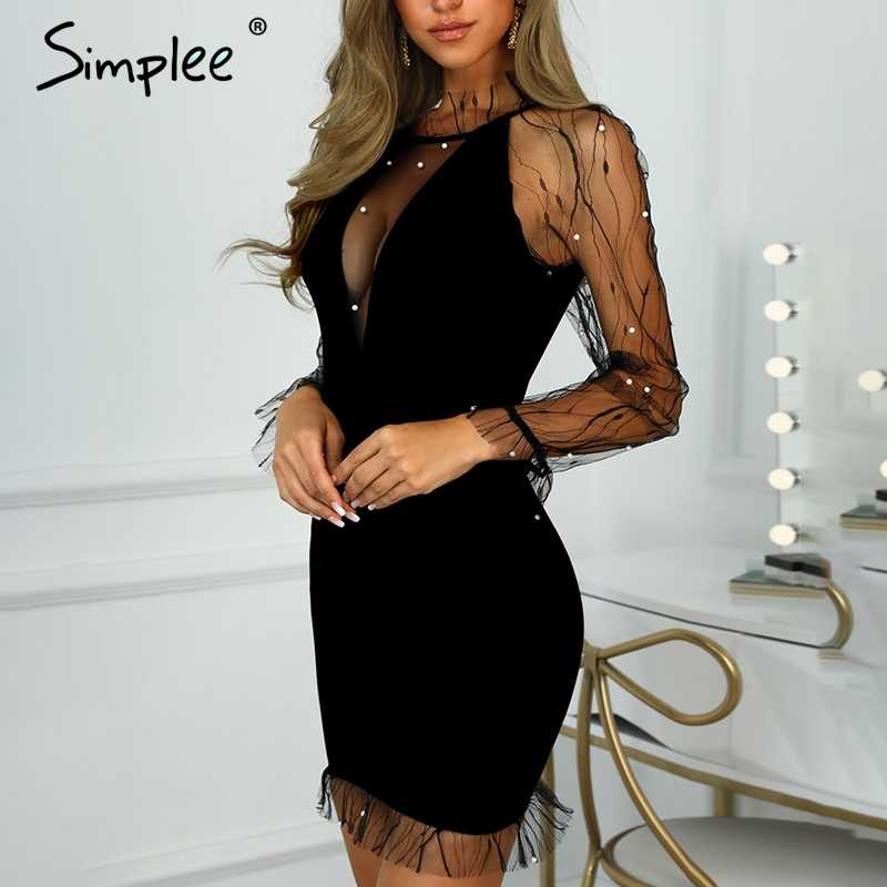 Simplee сексуальный прозрачный в сеточку женское вечернее платье Элегантное Бисероплетение Короткое приталенное платье женское плюс размер однотонное платье vestidos