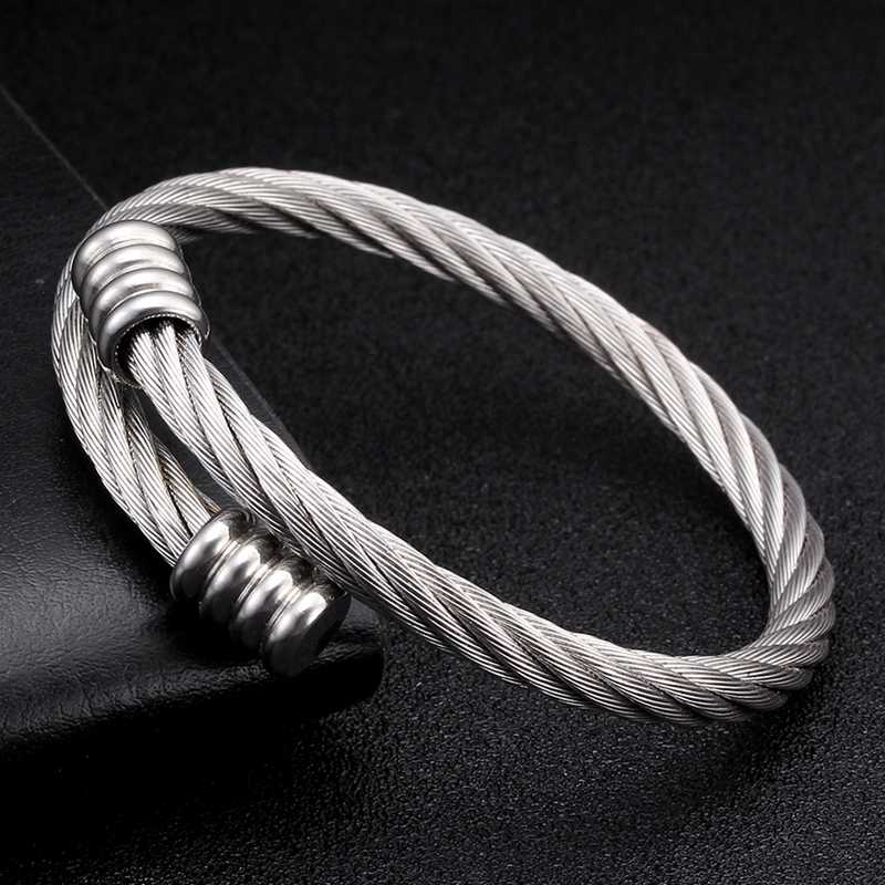 Luxury Design Mesh Surface Chain Link Open Cuff Bangles Men Women Fashion Jewelry Stainless Steel Sporty Charm Bracelets