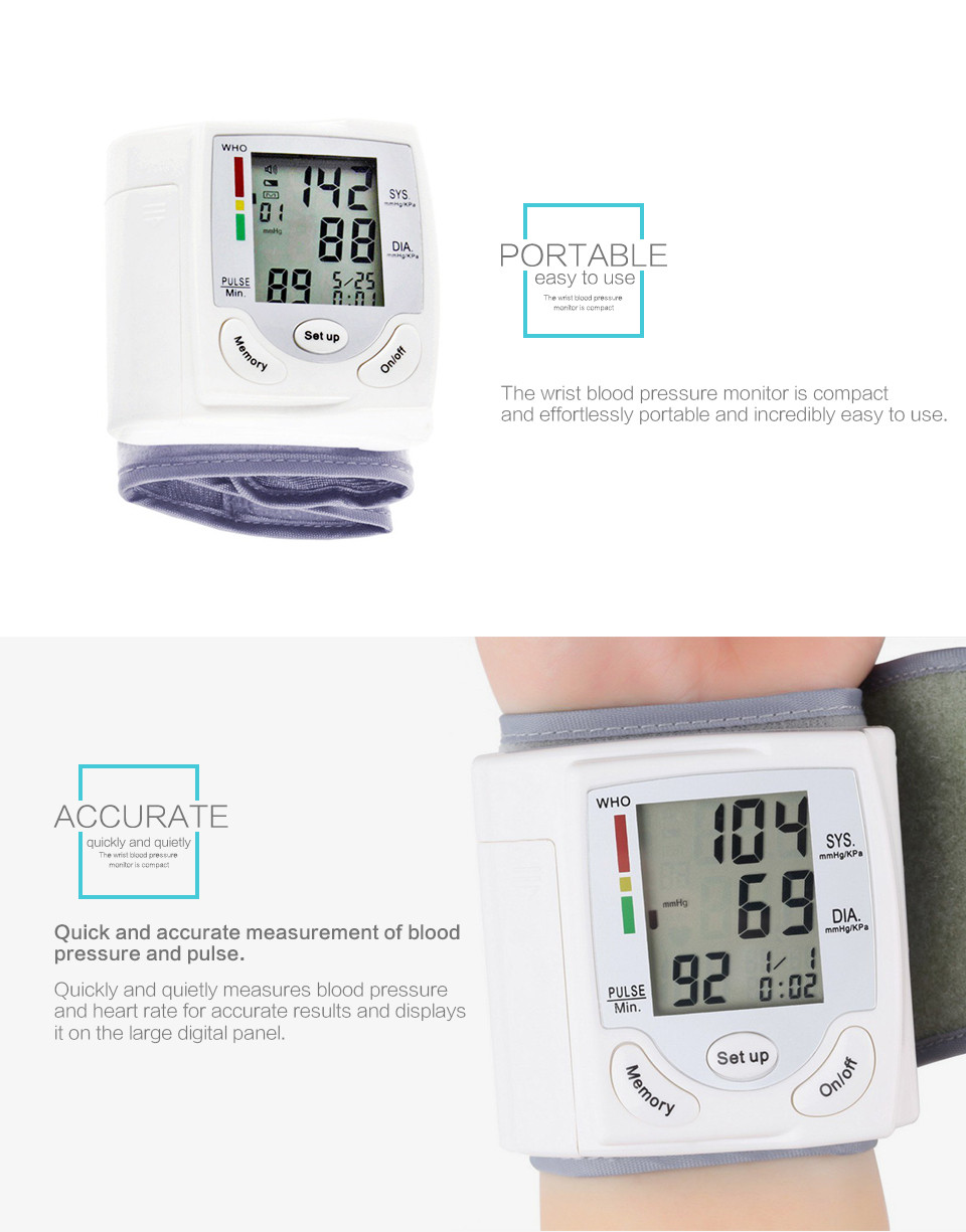 Professional Health Care Wrist Portable Digital Automatic Blood Pressure Monitor Household Type Protect Health2 15