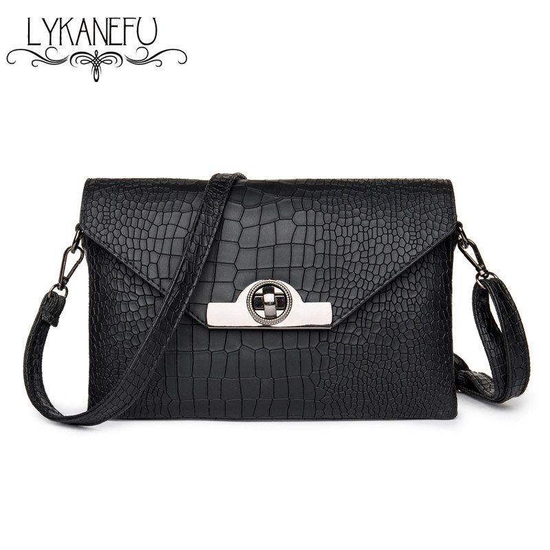 LYKANEFU Brand Women Messenger Bag Small Handbag Designer Clutch Purse PU Material Crossbody Bag Ladies Hasp Lock Women Bag lykanefu fashion black rock skull bag women messenger bags designer handbag clutch purse bag bolsas femininas couro dollar price