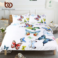 BeddingOutlet 3 Pieces Flying Butterflies Duvet Cover Set Butterfly Collection Bedding Set Hypoallergenic Soft Bed Cover