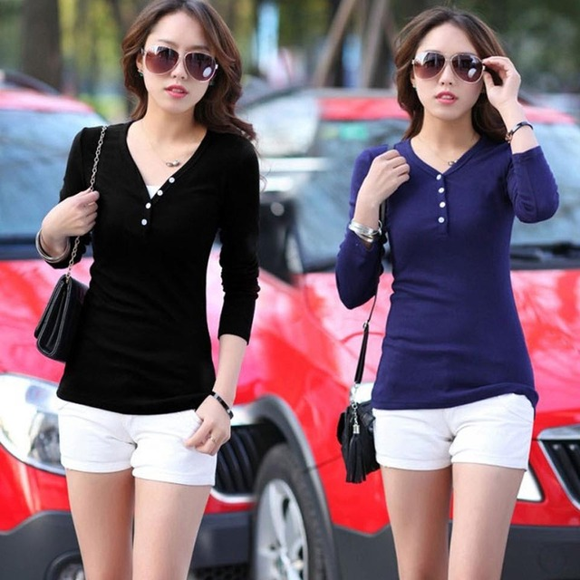 2016 Fashion Black and Dark Blue Wholesale Spring New Large Size Women Long Sleeved T-shirt Slim