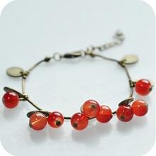 цены на MISANANRYNE Vintage Red Cherry Glass Alloy Women Small Bead bracelet Chain  в интернет-магазинах