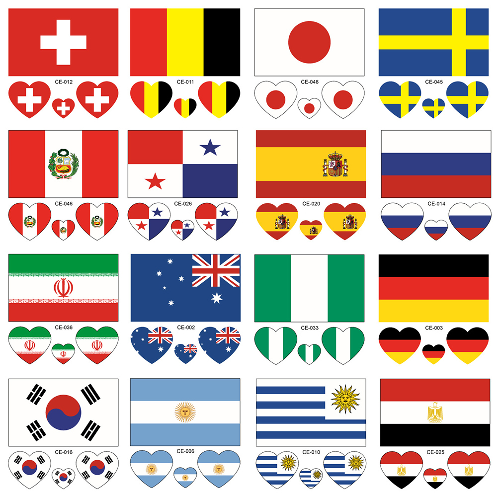 ATOMUS 32 Teams Tattoo Stickers Football Game Flag Tattoo Stickers Heart-shaped on Face Arm 10PCS