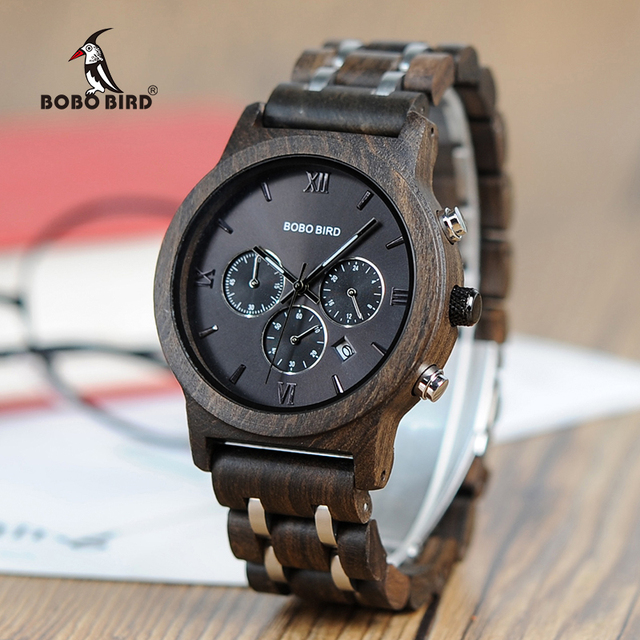 Bamboo Wooden Business Luxury Stop Watch w/ Stainless Steel Band