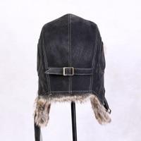 New Unisex Bomber Hats Russian Ushanka Caps Men Women's Faux Fur Trapper Hat PU Leather Wind Proof Earflap Warm Hat B 8430
